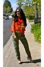 Yellow-forever-21-shirt-red-zara-bag-beige-steve-madden-heels-olive-green-