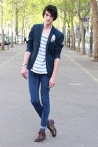 navy H&M blazer - navy Cheap Monday pants - ivory H&M t-shirt