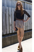 tan Chic a booti shorts - black black lace supre top - brown cotton on belt
