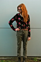 warehouse boots - Glassons belt - Farmers pants - floral Farmers cardigan