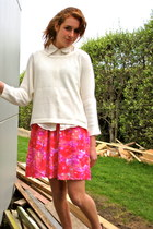 hot pink Glassons skirt - cream Glassons sweater