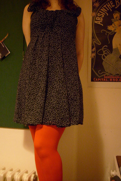 black Dorothy Perkins dress - red Dorothy Perkins tights