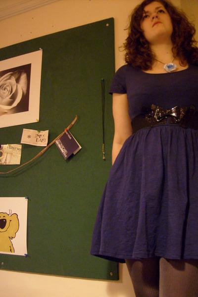 asos dress - gray tights - Love Miss Dasiy accessories - River Island belt - Mar