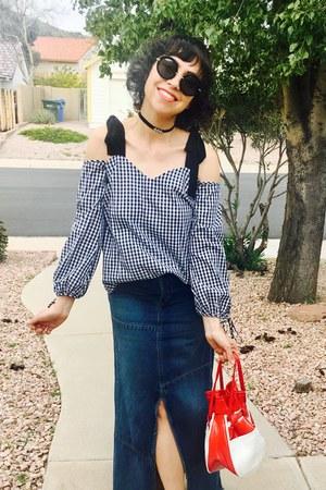 miss selfridge blouse - thrifted vintage purse - Miu Miu sunglasses