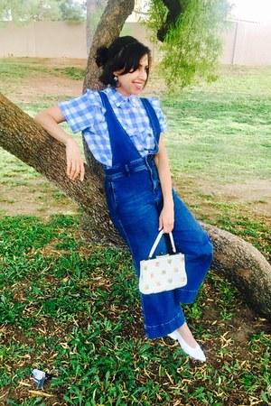 thrifted vintage purse - Zara shoes - denim free people jumper - asos blouse