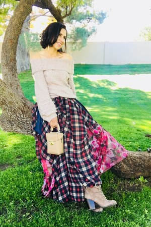 vintage cowgirl skirt - francescas boots - Anthropologie sweater