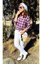 pink plaid Gap shirt - white Dr Martens shoes - white skinny Levis jeans