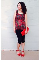 red modcloth shoes - purse - red floral thrifted blouse