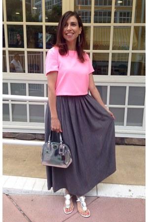 silver coach purse - white shoes - bubble gum crop shirt
