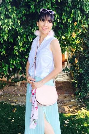 aquamarine maxi thrifted skirt - white loft shirt