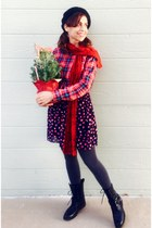 red knit  felted handmade scarf - black combat Forever 21 boots