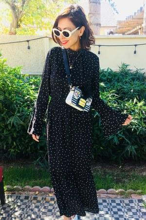 polka dot asos dress - Furla bag - Topshop heels