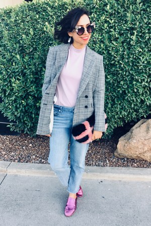 plaid Mango blazer - citizens of humanity jeans - faux fur Shrimps purse