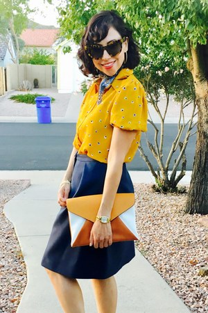 thrifted scarf - Zara purse - thrifted skirt - asos blouse