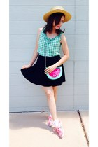 green gingham thrifted blouse - bubble gum keds shoes - hat