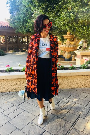 ann taylor coat - Topshop boots - Topshop t-shirt - vintage skirt