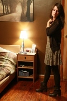 H&M sweater - sewn dress - leggings - Forever21 boots