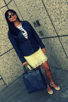 cream spikes Bakers flats - white stripes H&M shirt - navy tote studs R & Em bag