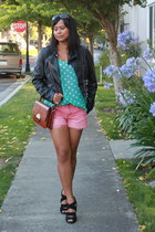 black moto H&M jacket - black seychelles shoes - tawny JCPenney bag