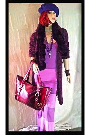 purple coat - amethyst dress - deep purple wool beret Ebay hat