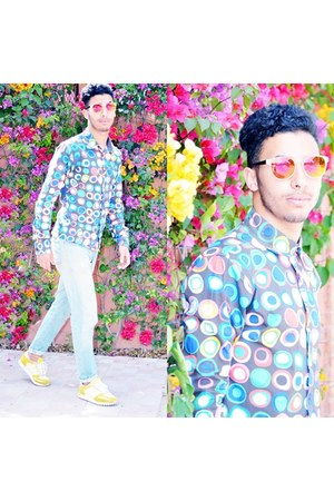 yellow Adidas shoes - sky blue H&M jeans - aquamarine desigual shirt