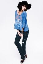black Forever 21 hat - blue Forever 21 shirt - blue Forever 21 jeans - silver Fo