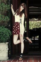 brown Forever 21 shoes - black Forever 21 socks - red Heritage 1981 skirt
