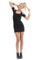 black Forever 21 dress - black Forever 21 shoes - gold Forever 21 bracelet - pin