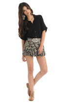 black Forever 21 blouse - gray Forever 21 skirt - silver Forever 21 earrings - s