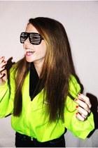 chartreuse 90s jacket - black scarf - black Shutter Shades glasses