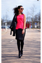 peplum-suede H&M top - leather Zara skirt