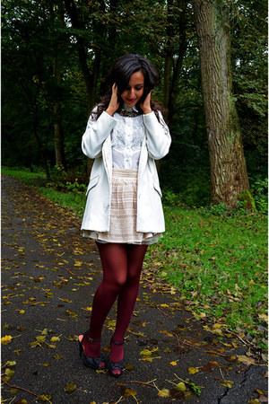 burgundy Primark tights - lace vintage skirt