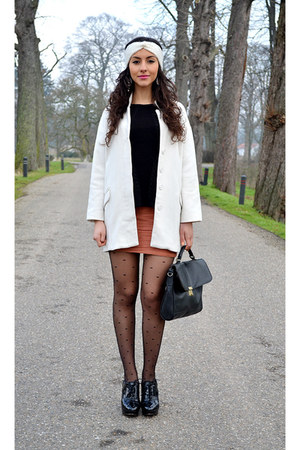 white Zara coat - vintage bag - peplum Zara top - headband H&M accessories