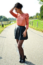 pleated leather Nelly skirt - rose golden Avelon necklace