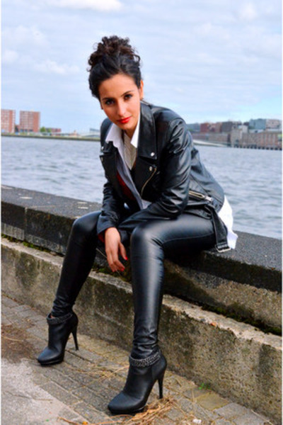 leather Topshop pants - SuperTrash boots