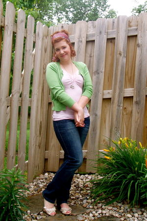 green unknown cardigan - pink Old Navy shirt - blue Levis jeans - beige unknown