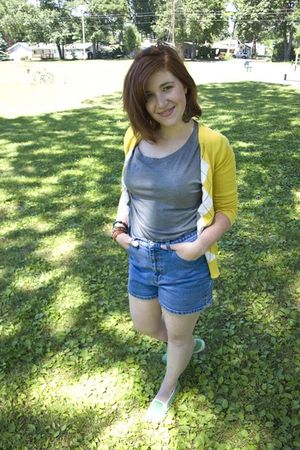 yellow Old Navy cardigan - gray Urban Outfitters shirt - green Lands End shoes -