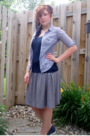blue Old Navy shirt - gray Gap skirt - blue Converse shoes
