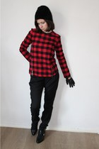 red Zara blouse - black Zara hat