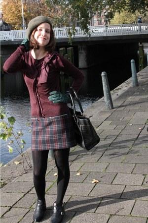 tartan Zara skirt - maroon ribbon Mango cardigan