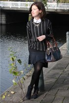 gray striped Mango sweater - white Zara shirt - navy striped Zara skirt