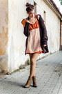 Carrot-orange-diy-foxy-green-dress-dark-brown-second-hand-cardigan