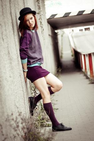 purple second hand sweater - black H&M shoes - black H&M hat