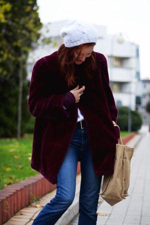 maroon faux fur second hand coat - blue Levis jeans