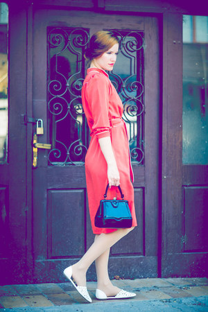 red second hand dress - black second hand bag - white CCC sandals