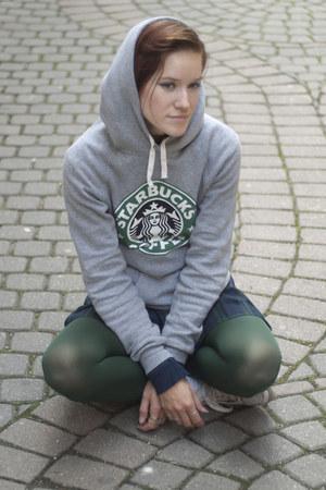 dark green second hand dress - silver second hand hoodie