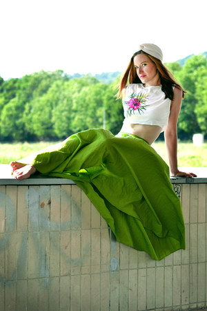 chartreuse handmade Foxy Green skirt - white handmade Foxy Green top