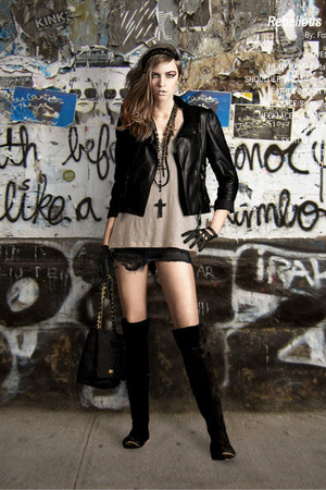 black Primark jacket - beige Filippa K top - black One Teaspoon skirt - black To