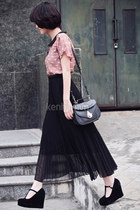 black shoes - black basic bag - black long skirt skirt - pink blouse