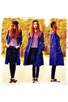 oxfords shoes - blue coat - light purple top - dark gray pants